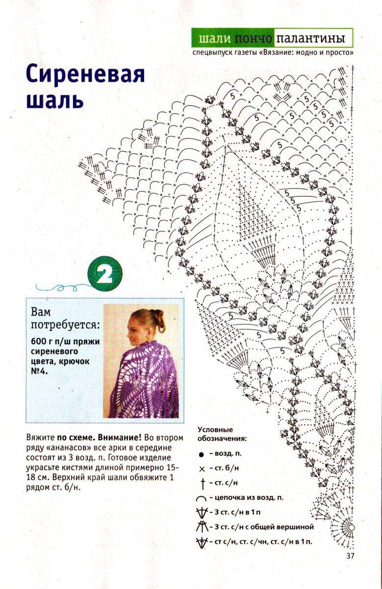 Вязание шалей крючком схемы и описание для начинающих