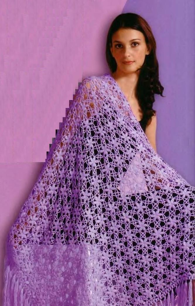 Схема вязания крючком треугольной шали