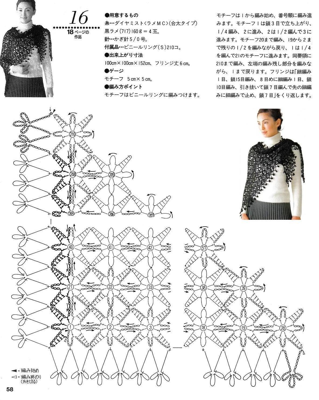 Вязание шали спицами с бокового угла