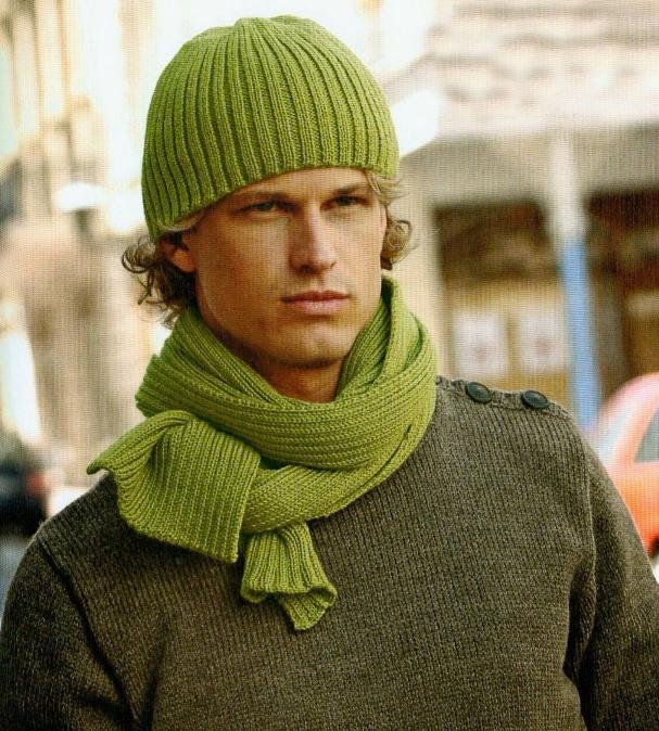Мужские шапки+шарфы спицами