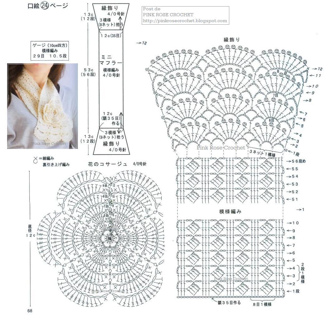 Вязание шарф крючком схемы и описание фото