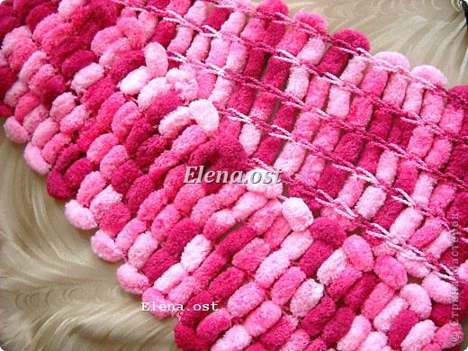 Вязание шарфа из помпонной пряжи