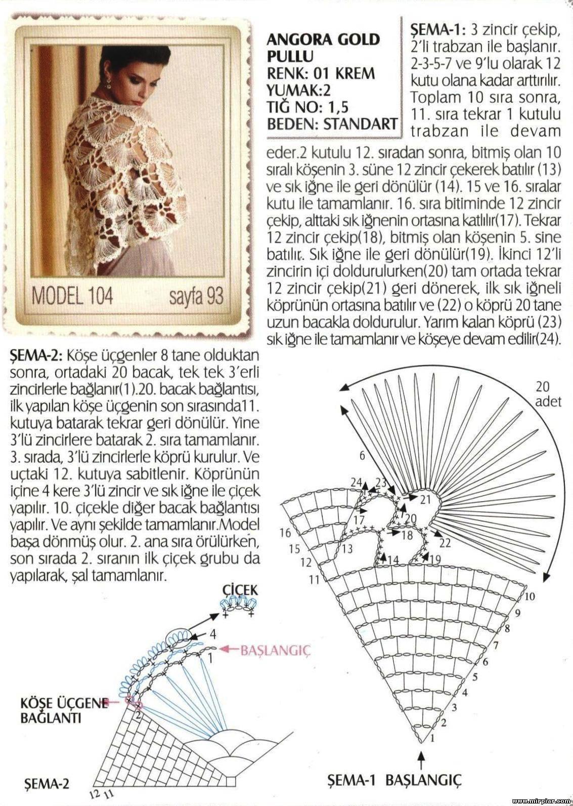 Вяжем крючком шаль турецкая
