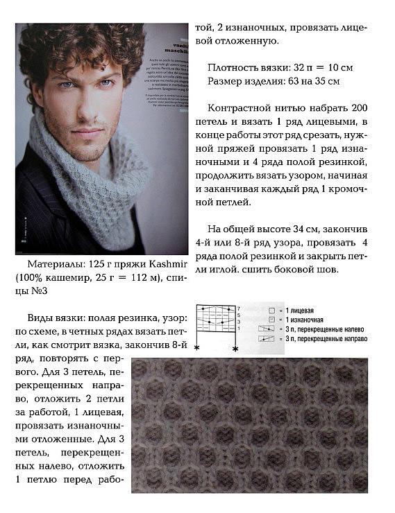 Схема вязания шарфа хомута мужского